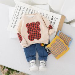 Mini Bae - Kids Set: Bear Applique Pullover + Jeans