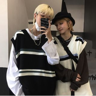 LASIBEI - Couple Matching Striped Knit Vest