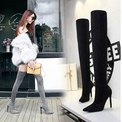 TREL(テレル) - Pointed Toe Over-the-Knee High Heel Sock Boots