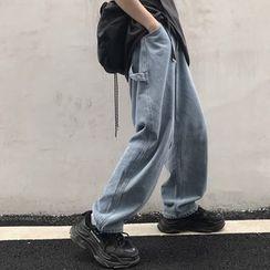 Porstina - 高腰直筒水洗牛仔裤
