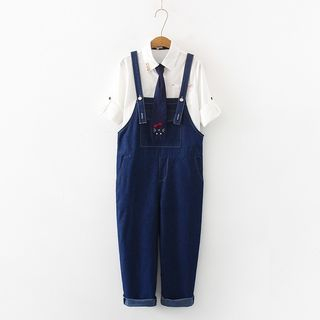 PANDAGO - 九分牛仔背帶褲 / 飾口袋短袖襯衫連貓刺繡領帶