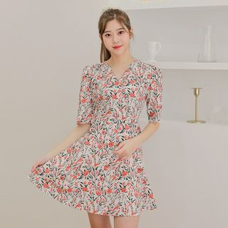 HOTPING - Wrap-Front Floral Mini Swing Dress
