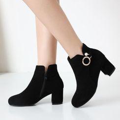 佳美 - 饰圈环粗跟及踝靴
