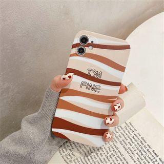 Surono - Lettering Wavy Print Phone Case - iPhone 12 Pro Max / 12 Pro / 12 / 12 mini / 11 Pro Max / 11 Pro / 11 / SE / XS Max / XS / XR / X / SE 2 / 8 / 8 Plus / 7 / 7 Plus