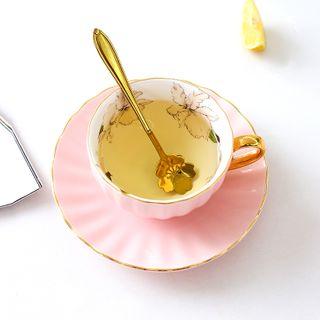 Beaucup - Set: Floral Print Golden Trim Ceramic Tea Cup + Saucer / Teapot