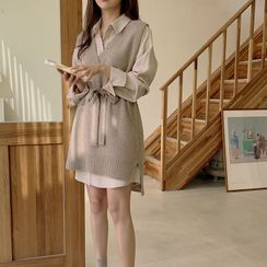 minaga - Long-Sleeve Tie-Waist Shirtdress / Knit Vest