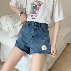 Enoki - Floral Denim Shorts