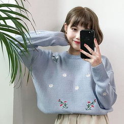 Dute - Floral Embroidered Sweater