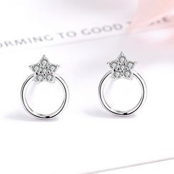JZ Concept - s925纯银水钻星星耳钉