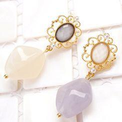 Cv Plus Design - Asymmetrical Faux Crystal Drop Earring