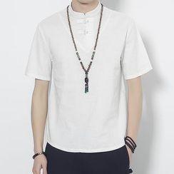 Romantica - 短袖立领衬衫