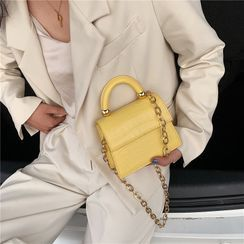 BAGSHOW - Croc Grain Faux Leather Crossbody Bag