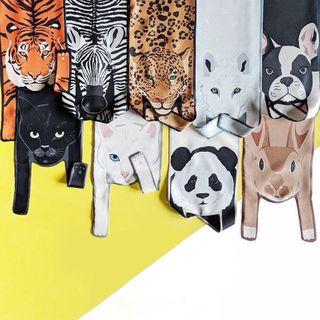 Soiea - Animal Print Satin Scarf