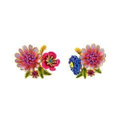 BELEC - Fashion and Elegant Plated Gold Enamel Flower Cubic Zirconia Stud Earrings