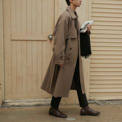 Seoul Homme(ソウルオム) - Double-Breasted Long Trench Coat With Sash