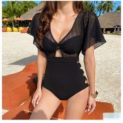 Honolulu - Mesh Panel Short-Sleeve Cutout Swimsuit