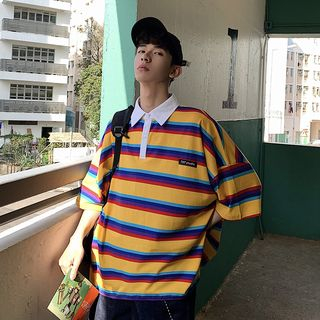 MOWAK - Oversized Striped Polo Shirt