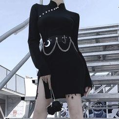 Solvor - Side Slit Long-Sleeve Mini Dress / Chain Accent Waist Belt