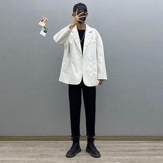 Avilion(アヴィリオン) - Plain Blazer / Straight Leg Pants / Long-Sleeve T-Shirt