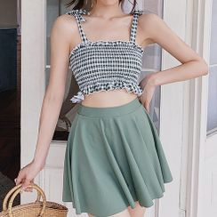 Hughiya - Set: Plaid Swim Top + Swim Skirt