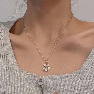 LIVSIA - Flower Rhinestone Pendant Stainless Steel Necklace
