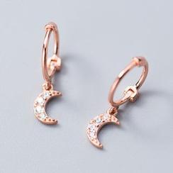 A'ROCH - 925 Sterling Silver Rhinestone Moon Huggie Earrings