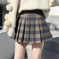 Yupina - Plaid Pleated A-Line Mini Skirt