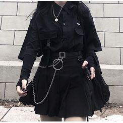 Happy Bird - Short-Sleeve Shirt / Pleated Mini Skirt / Belt