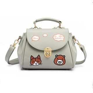 BeiBaoBao - Faux-Leather Printed Satchel