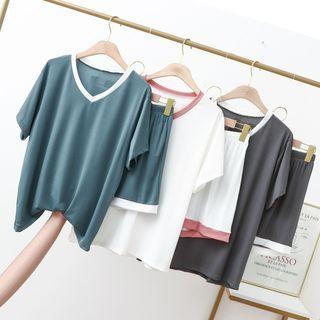Lacyland(レイシーランド) - Loungewear Set: Short-Sleeve V-Neck Contrast Trim Top + Shorts