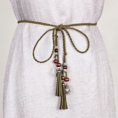 Leatha - Tassel Faux Leather Braided Cord Belt