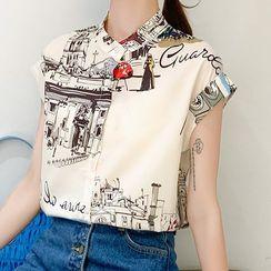 Gray House - Printed Short-Sleeve Chiffon Shirt