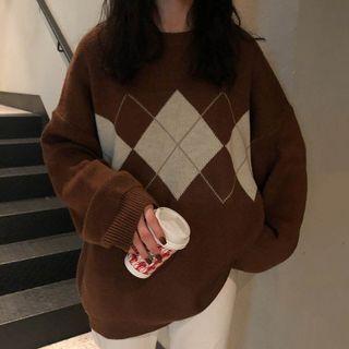 芙苪FR - 菱形格套頭針織衫