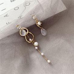 Madikara - Non-matching Faux Pearl Faux Crystal Dangle Earring