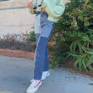 Genrovia - Color Block Straight Leg Jeans