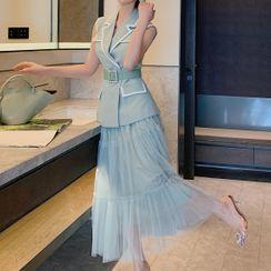 OHANIA - Set: Sleeveless Notch Lapel Wrap Top + Maxi A-Line Mesh Skirt
