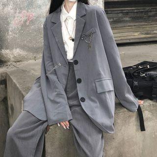 Sophia - Plain Blazer / Wide-Leg Pants / Chained Pin