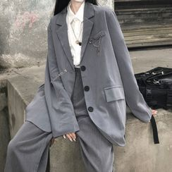 Sophia(ソフィア) - Plain Blazer / Wide-Leg Pants / Chained Pin