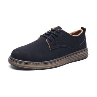 Chariot - Fleece-Lining Stitched Lace-Up Sneakers