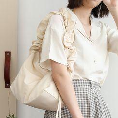 Quien - Ruffle Drawstring Nylon Shoulder Bag