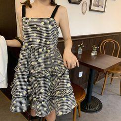Ashlee - Floral Strappy A-Line Dress / Light Jacket