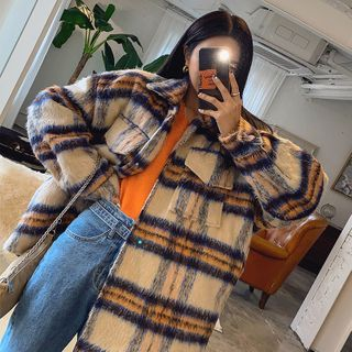 LIPHOP - Flap-Pocket Oversized Plaid Jacket