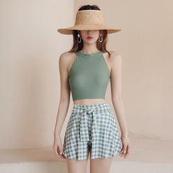 VENNETTOS - 套裝: 無袖坦基尼泳衣上衣 + 腰結帶格子泳裙