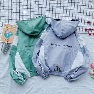 Cowpow - Color Block Lettering Zip Hooded Jacket