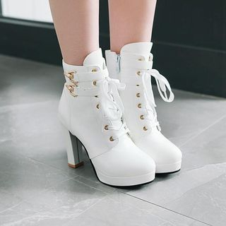 Shoes Galore - Lace-Up High Heel Short Boots