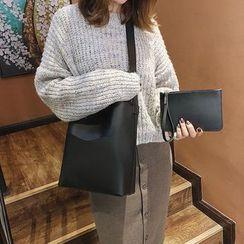 Faneur - Set: Faux Leather Bucket Bag + Clutch