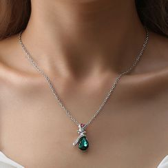 Cheermo - Rhinestone Rose Necklace
