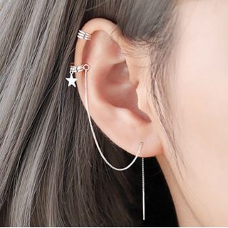 FOON - 925 Sterling Silver Non-Matching Star Ear Cuff + Threader Earring