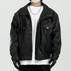 FAERIS - Collared Faux Leather Jacket