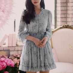 Doowex - Gather-Waist Floral Shirred Chiffon Dress